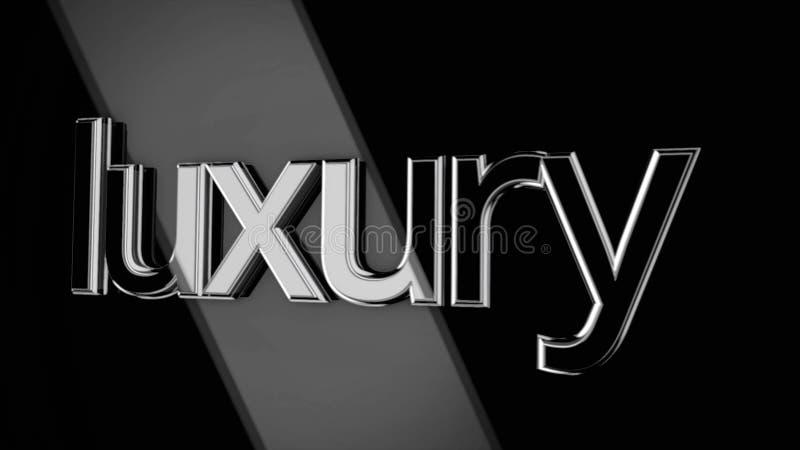 lyx för ord som 3D flyttar sig på svart bakgrund med breda strålar av ljus, monokrom Strålar för inflyttning för volymtecken lyxi stock illustrationer