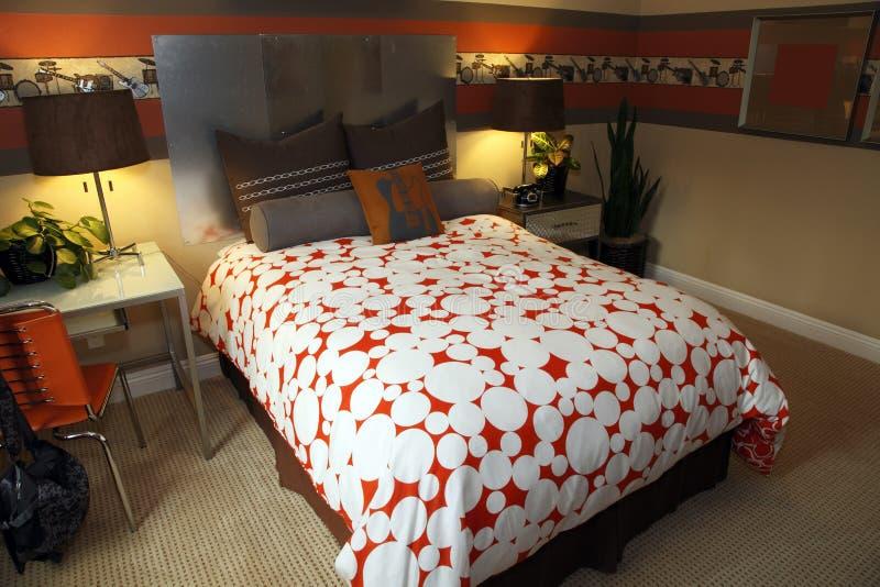 lyx för sovrumdekorutgångspunkt royaltyfri fotografi