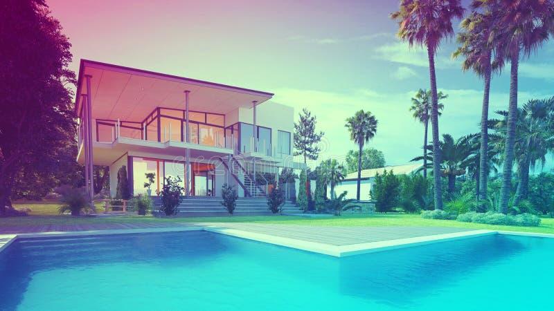 Lyxhem med simbassängen och palmträd arkivfoton