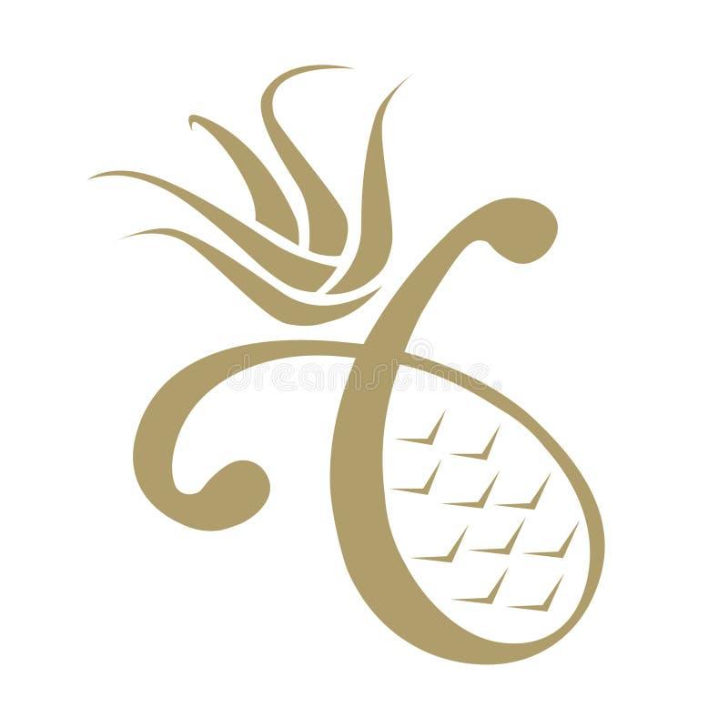 Lyxig ananassymbol stock illustrationer