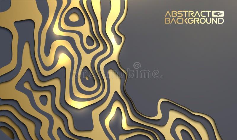 Lyxig bakgrund f?r presentation Guld p? den svarta bakgrunden f?r vektortapet 3d Beaty inbjudan f?r svart och guld- design stock illustrationer