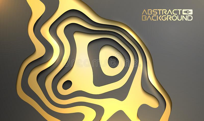 Lyxig bakgrund f?r presentation Guld p? den svarta bakgrunden f?r vektortapet 3d Beaty inbjudan f?r svart och guld- design royaltyfri illustrationer