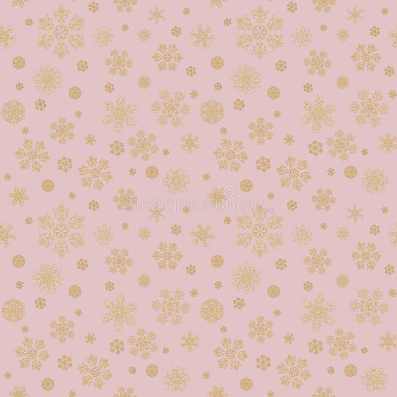 Lyxig bakgrund med guld- snökristaller Lyckligt nytt… öl! stock illustrationer