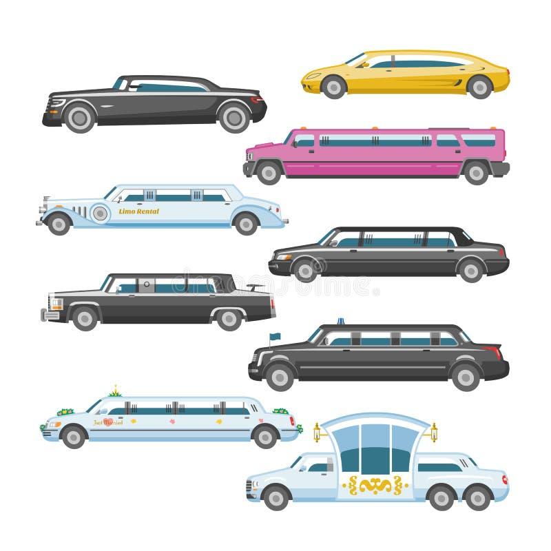 Lyxig bil för limousinevektorlimo och retro auto transport- och för medelbilillustration uppsättning av automatiskt stock illustrationer