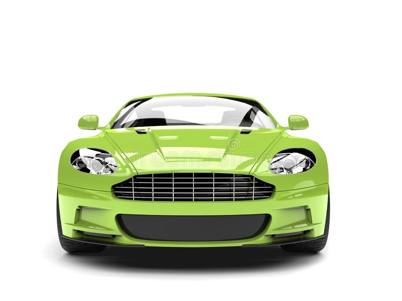 Lyxig bil- främre sikt för galna gröna moderna sportar stock illustrationer