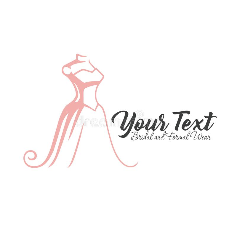 Lyxig boutique som är brud-, klänning, blom- Logo Template Illustration Vector Design vektor illustrationer