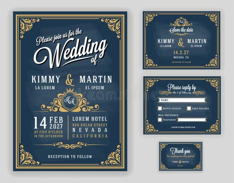 Lyxig bröllopinbjudan för tappning på svart tavlabakgrund royaltyfri illustrationer