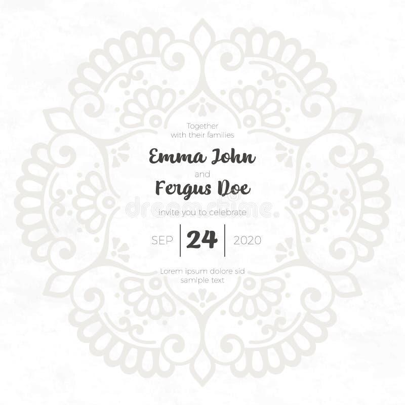 Lyxig bröllopinbjudan för vektor med mandalaen royaltyfri illustrationer