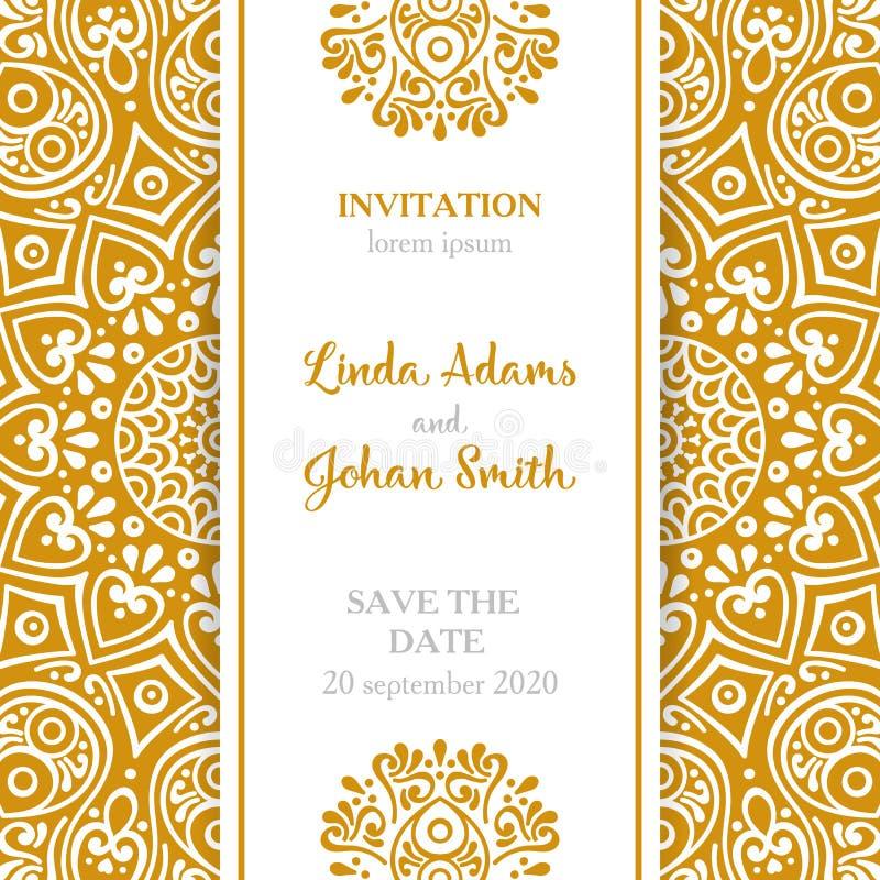 Lyxig bröllopinbjudan för vektor med mandalaen vektor illustrationer