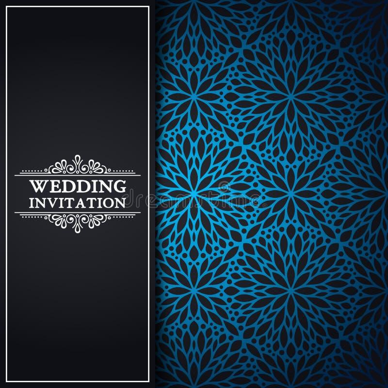 Lyxig bröllopinbjudan för vektor med mandalaen stock illustrationer