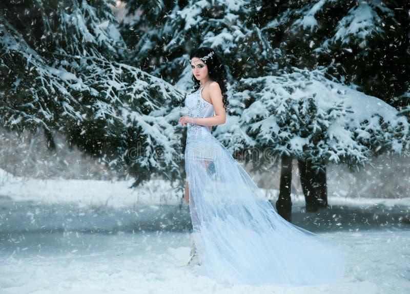 Lyxig brunett i en vit klänning arkivfoto