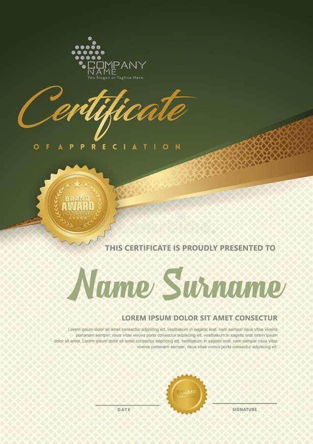 Lyxig certifikatmall för högvärdigt diplom med futuristisk och elegant modellbakgrund stock illustrationer