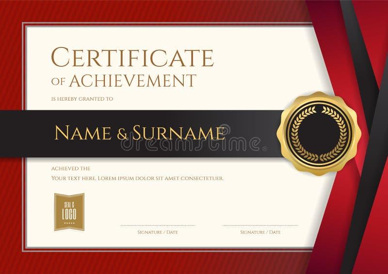 Lyxig certifikatmall med den eleganta gränsramen, diplom D vektor illustrationer