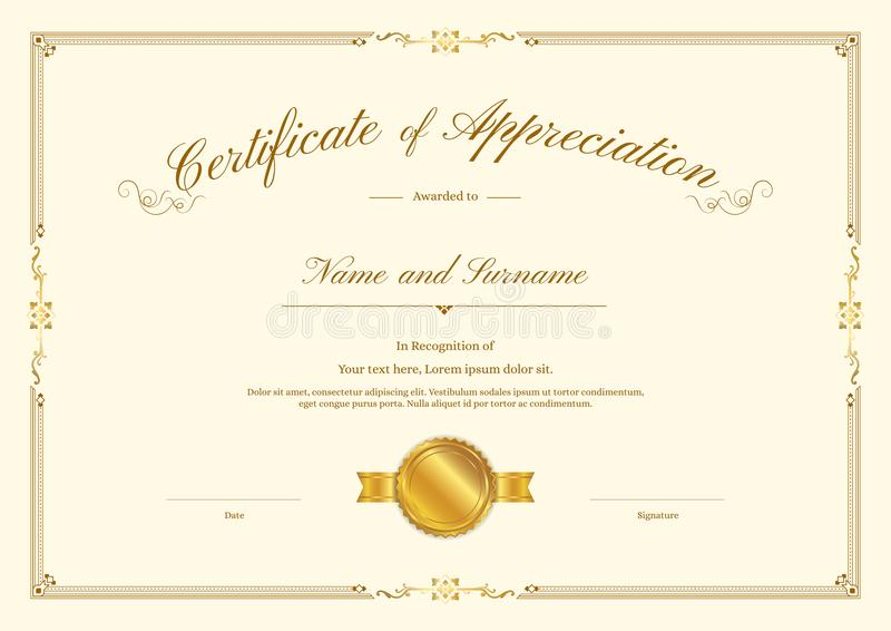 Lyxig certifikatmall med den eleganta gränsramen, diplomdesign stock illustrationer