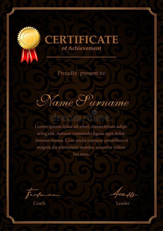 Lyxig certifikatmall med guldmedaljen diplom, prestation och gillandecertifikat stock illustrationer