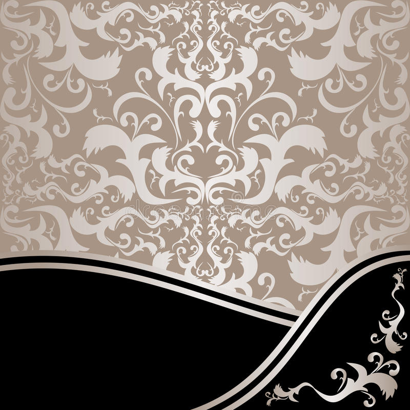 Lyxig dekorativ bakgrund: silver och svart stock illustrationer