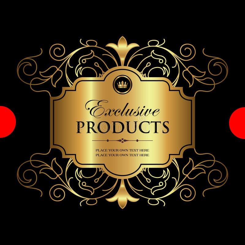 Lyxig dekorativ guld- etikett - vektordesign vektor illustrationer