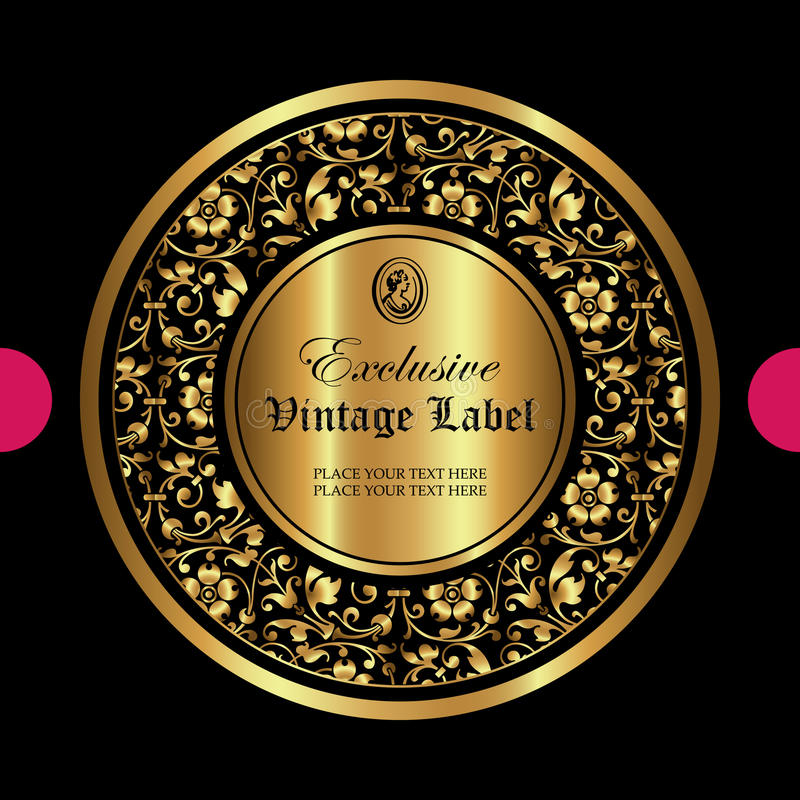 Lyxig dekorativ guld- etikett - vektordesign stock illustrationer