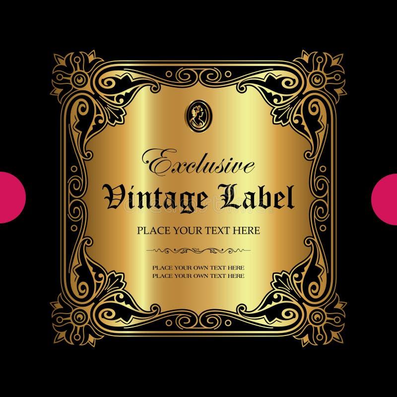 Lyxig dekorativ guld- etikett - vektordesign royaltyfri illustrationer