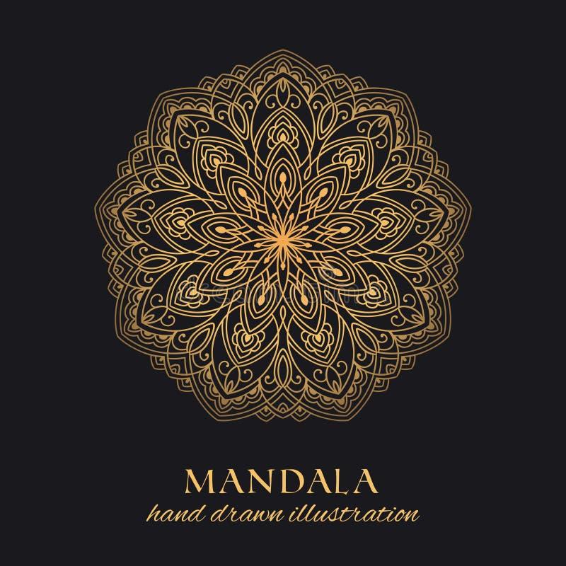 Lyxig design för Mandalavektorprydnad Guld- rund grafisk beståndsdel på svart bakgrund vektor illustrationer