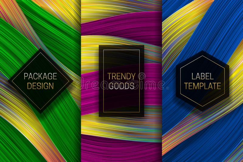 Lyxig förpackande design Ställ in av färgrika etikettmallar för moderiktigt gods Holographic bakgrunder med härlig guld- svart stock illustrationer
