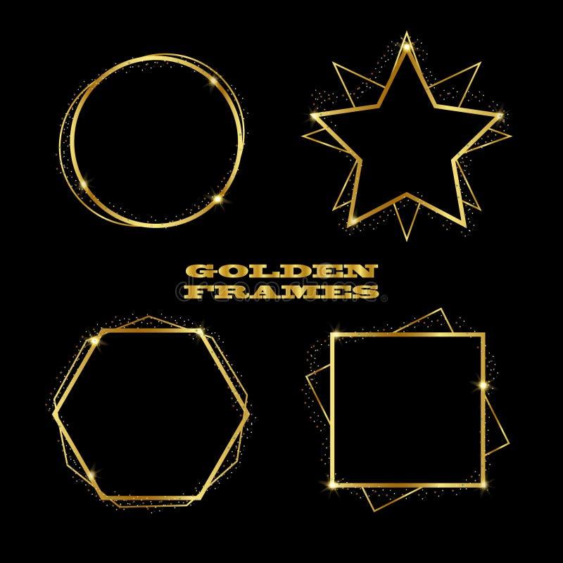 Lyxig geometrisk guld- ramuppsättning royaltyfri illustrationer
