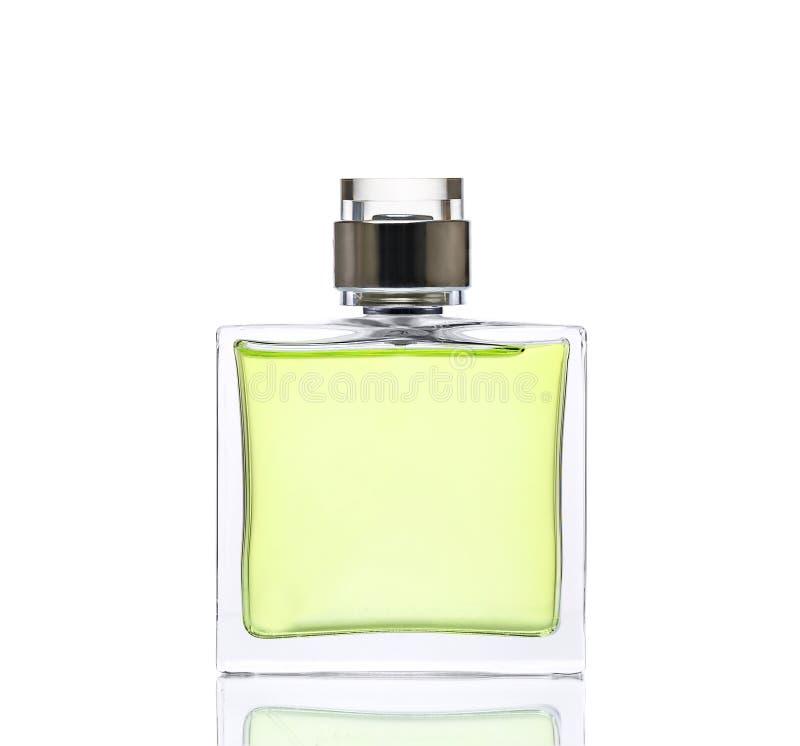 Lyxig grön doft Kvinnligt skönhetbegrepp, studiofotografi av doftflaskan - som isoleras på vit bakgrund royaltyfria foton