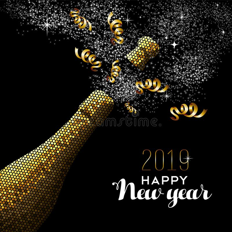 Lyxig guld- champagneflaska för lyckligt nytt år 2019 stock illustrationer