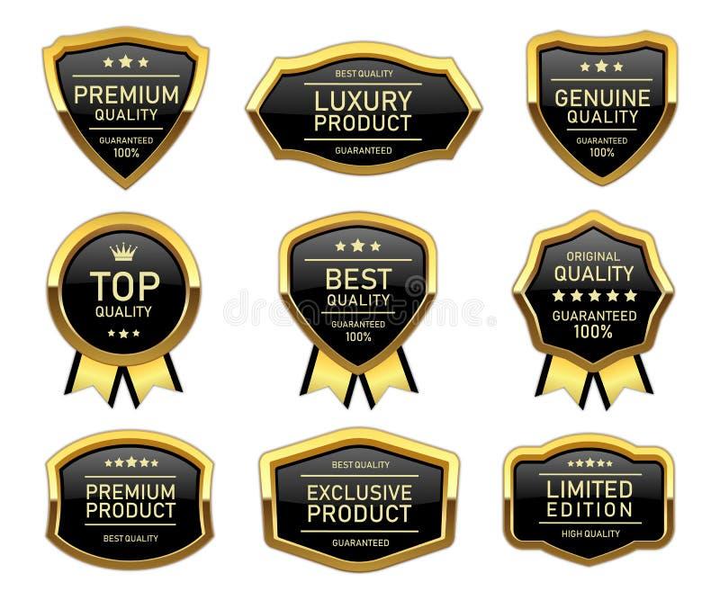 Lyxig guld- etikett för kvalitets- produkt vektor illustrationer