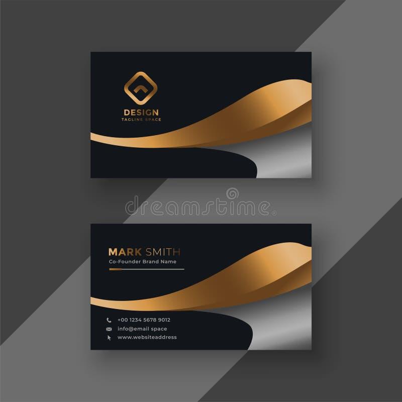 Lyxig guld- högvärdig mall för affärskort vektor illustrationer
