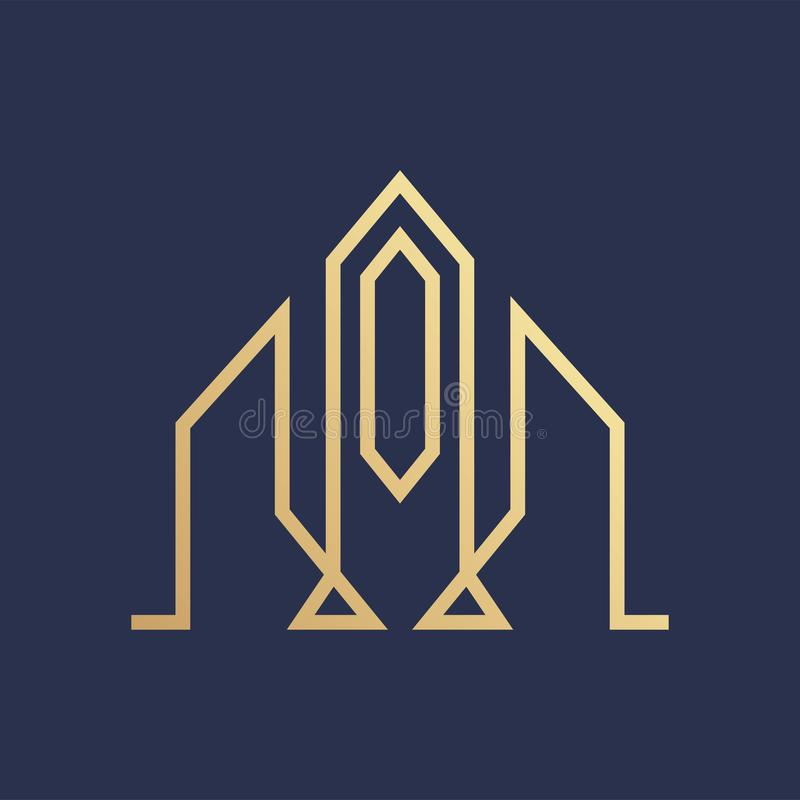 Lyxig guld- Logo Line för fastighetbyggnad vektor royaltyfri illustrationer