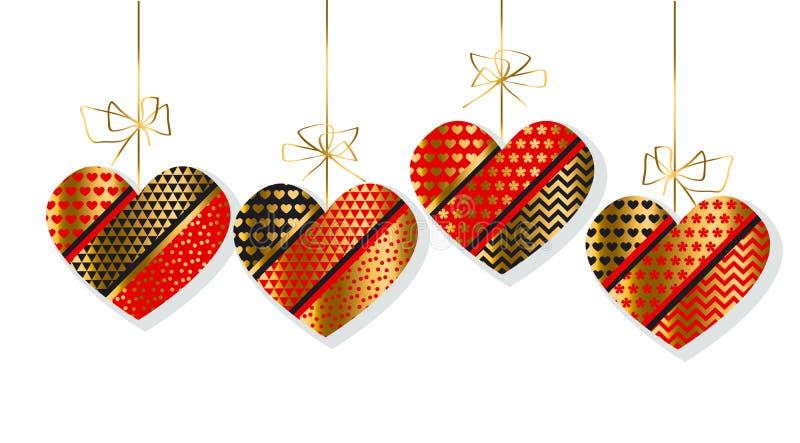 Lyxig guld och röd dekorativ hjärtauppsättning vektor illustrationer