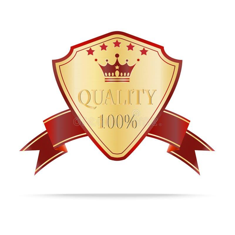 Lyxig guld och röd kvalitetssköldetikett royaltyfri illustrationer