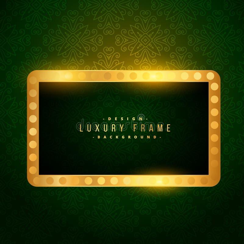 Lyxig guld- ram på grön bakgrund royaltyfri illustrationer