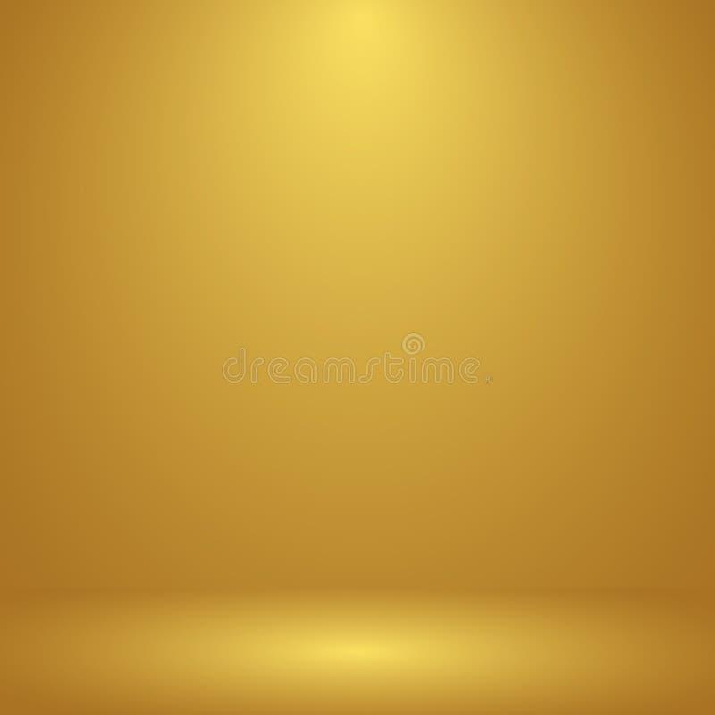 Lyxig guld- studiorumbakgrund med strålkastare väller fram upp bruk som affärsbakgrunden, mallåtlöje för skärm av royaltyfri illustrationer