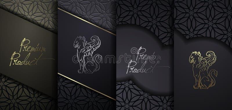 Lyxig högvärdig design Fastställda förpackande mallar för vektor med olik textur för lyxiga produkter Svart papperssnittbakgrund stock illustrationer
