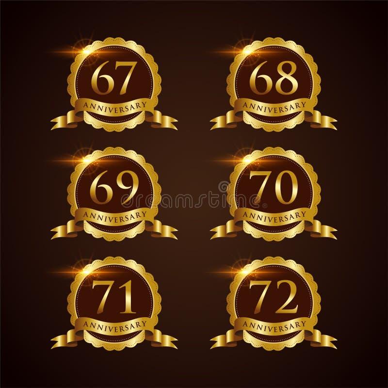Lyxig illustratör Eps för vektor för emblemårsdag 67-72 10 royaltyfri illustrationer