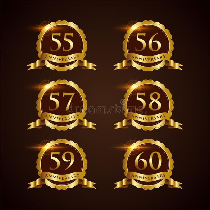 Lyxig illustratör Eps för vektor för emblemårsdag 55-60 10 royaltyfri illustrationer