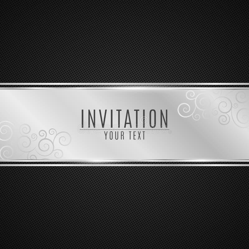 Lyxig inbjudan Försilvra bandbanret på en svart bakgrund med en modell av ingreppet Realistisk silverremsa med en inscriptio stock illustrationer