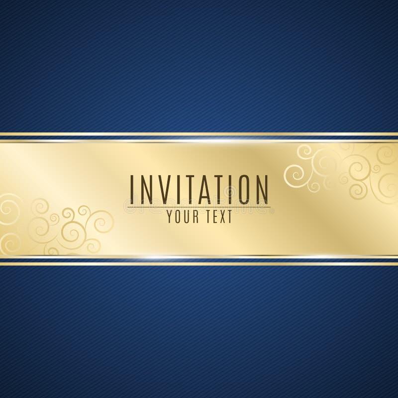 Lyxig inbjudan Guld- bandbaner på en blå bakgrund med en modell av sneda linjer Realistisk guld- remsa med en insc vektor illustrationer