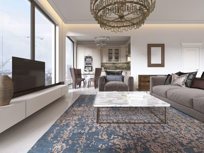Lyxig inre av modern stil för vardagsrum med TVenheten, soffan, fåtöljer, kaffetabellen och den äta middag tabellen med kök royaltyfri illustrationer