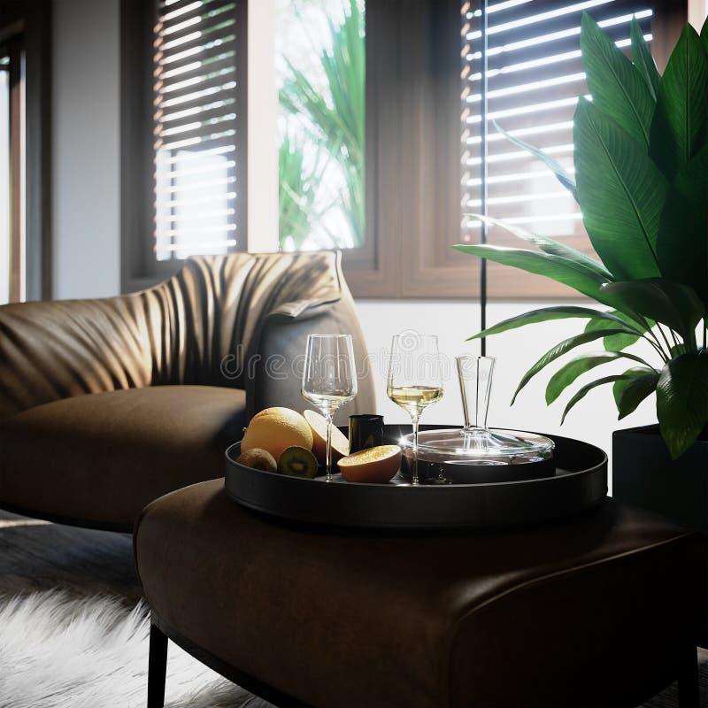 Lyxig inre stillebencloseup med palmträd- och vinexponeringsglas royaltyfri fotografi
