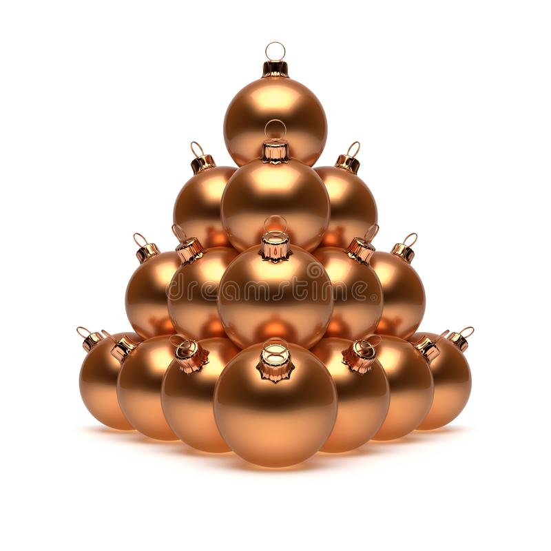 Lyxig jul klumpa ihop sig skinande guld- gult metalliskt för pyramid vektor illustrationer