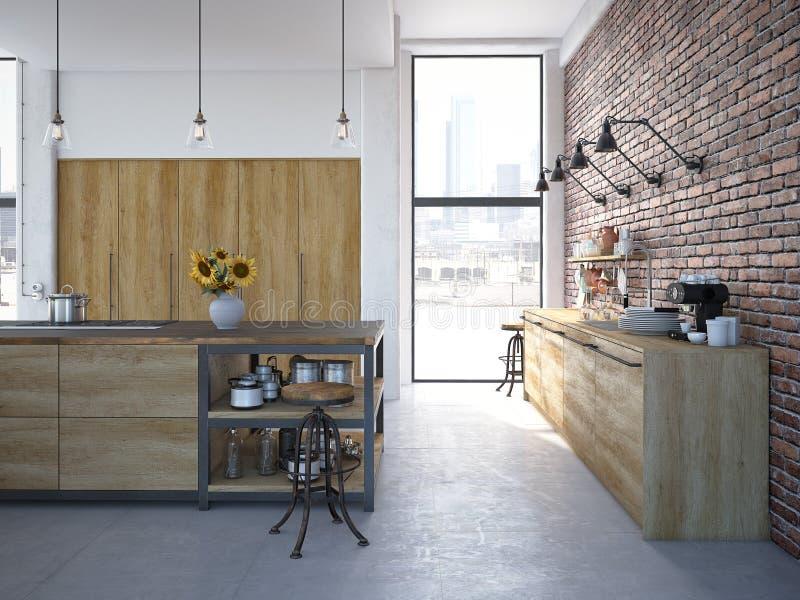 Lyxig kökinre för modern design framförande 3d arkivfoton