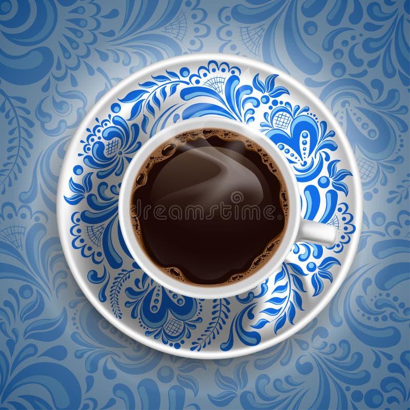 Lyxig kaffekopp royaltyfri illustrationer