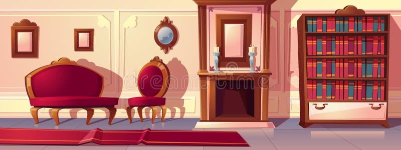 Lyxig korridor för vektor, rik balsal med stöpningar royaltyfri illustrationer