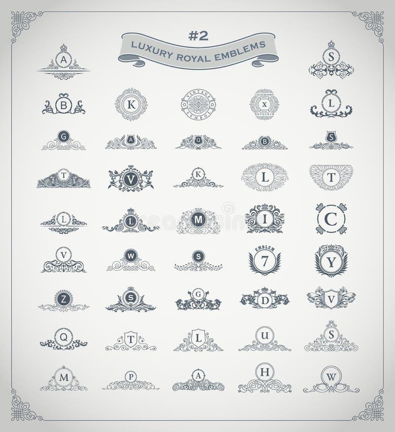 Lyxig kunglig logouppsättning Vapen emblem, heraldisk monogram Tappning frodas beståndsdelar royaltyfri illustrationer