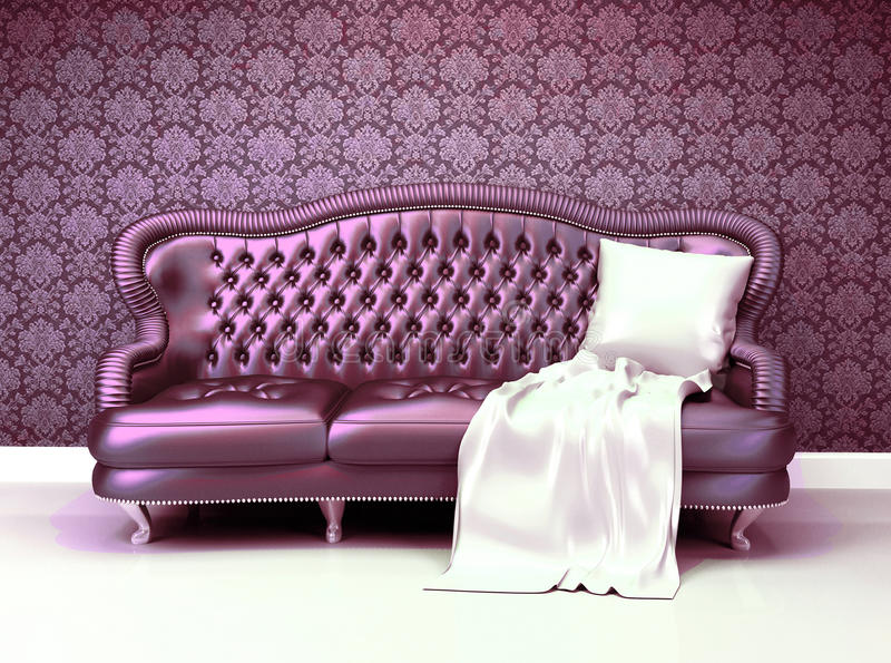 Lyxig lädersofa fotografering för bildbyråer