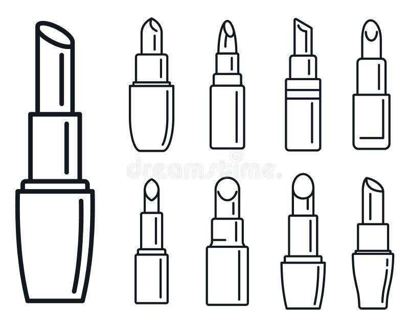 Lyxig läppstiftsymbolsuppsättning, översiktsstil vektor illustrationer