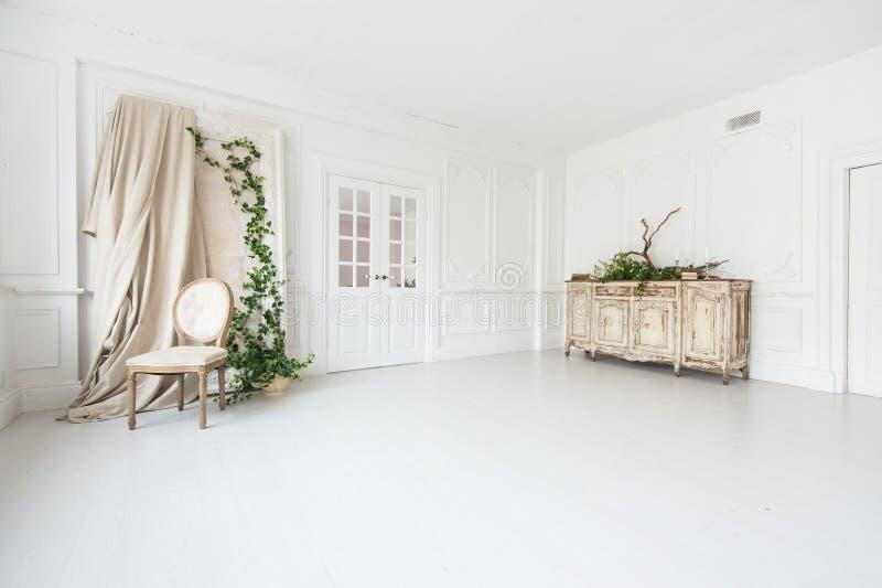 Lyxig ljus inre av rummet med stuckaturen på väggarna, tappningstolen och byrån som dekoreras med växter arkivfoton